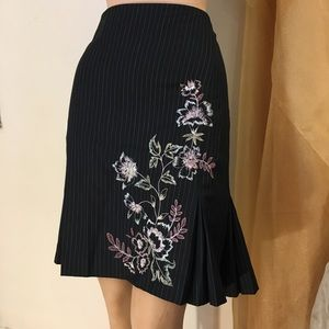 Ann Taylor skirt pinstripe with embroidery.